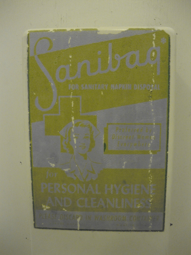 """for PERSONAL HYGIENE AND CLEANLINESS PLEASE DISCARD IN WASHROOM CONTAINER"" –Sanibag dispenser, Southwestern Vermont motel 2011"