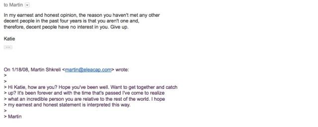 Martin Shkreli Email Response Redacted